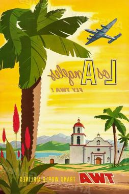 1955 Los Angeles California TWA Vintage Style Airline Travel
