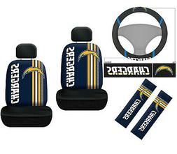 7pc NFL Los Angeles Chargers Car Seat Covers Steering Wheel