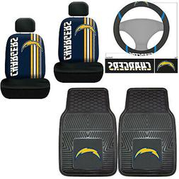 7pc NFL Los Angeles Chargers Car Seat Covers Floor Mats Stee