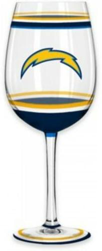 Los Angeles Chargers NFL Wine Glass Brush Painted Gameday Pa