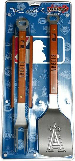 Los Angeles Angels 3 Piece BBQ Grill Tools Tongs Spatula For