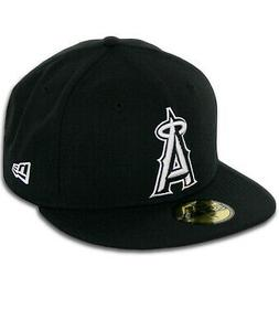 New Era Los Angeles Angels BK WH BK Fitted Hat  Men's 59Fift