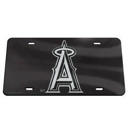 LOS ANGELES ANGELS BLACK AND SILVER CRYSTAL MIRRORED CAR LIC