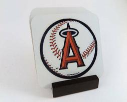 Los Angeles Angels Coasters_Metal _. Set of 4 with Mahogany
