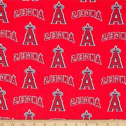 Los Angeles Angels Fabric MLB  Baseball Cotton New  Red Whit