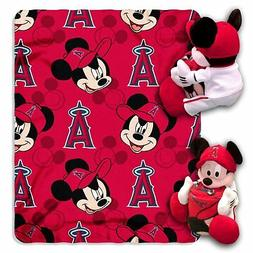 Los Angeles Angels MLB Mickey Mouse Throw and Hugger Pillow