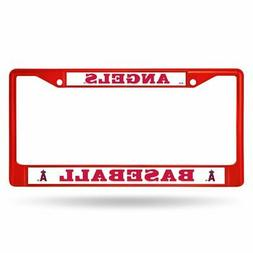 Los Angeles Angels MLB Red Painted Chrome Metal License Plat