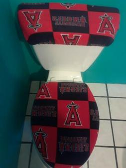 LOS ANGELES ANGELS SQUAR FLEECE TOILET SEAT COVER SET cleara