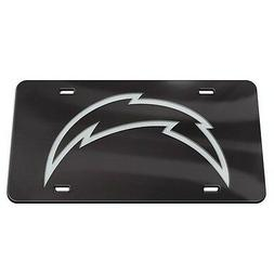 LOS ANGELES CHARGERS BLACK AND SILVER CRYSTAL MIRRORED CAR L