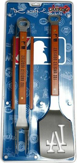 Los Angeles Dodgers 3 Piece BBQ Grill Tools Tongs Spatula Fo