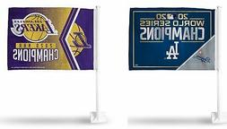 Los Angeles Dodgers and Lakers 2020 World Champions Car Flag