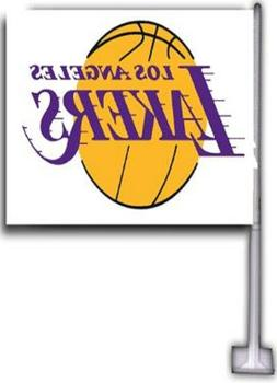 LOS ANGELES LAKERS CAR FLAGS 2 SIDED 12X18 HI-WAY STRONG