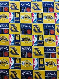 Los Angeles Lakers Fabric- 100% Cotton-By the Fat Eighth - S