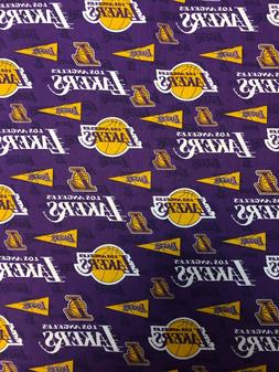 Los Angeles Lakers on Purple w/Pendants-100% Cotton-By the F