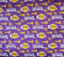 Los Angeles Lakers on Purple w/Pennants- Cotton- By The Fat