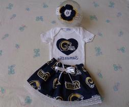 Los Angeles Rams Baby Girl Skirt, Personalized Bodysuit and