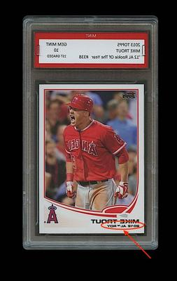 MIKE TROUT TOPPS AL ROOKIE OF THE YEAR CARD 1ST GRADED 10 LO