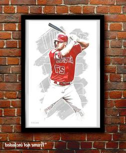 MIKE TROUT watercolor painting art print/poster LOS ANGELES