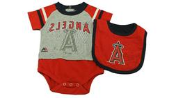 MLB Los Angeles Angels Majestic Infant 3 Piece Creeper Bib &