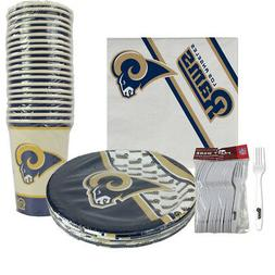 New 80pc Set NFL Los Angeles Rams Paper Plates Cups Forks Na