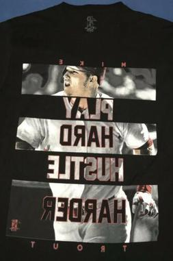 New Los Angeles Angels Mike Trout Play Hard Mens Black T Shi