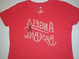 NEW Women's LOS ANGELES ANGELS V-Neck T-SHIRT, Heather Red,