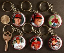 Set of 6 Key Chains MIKE TROUT Los Angeles Angels Keychains