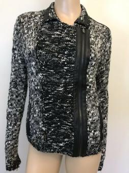 Women's Guess Los Angeles Sweater Moto Cropped Coat Jacket